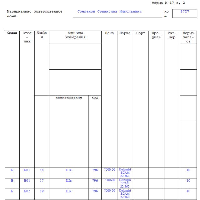 Карточка складского учета материалов: скачать бланк и образец заполнения