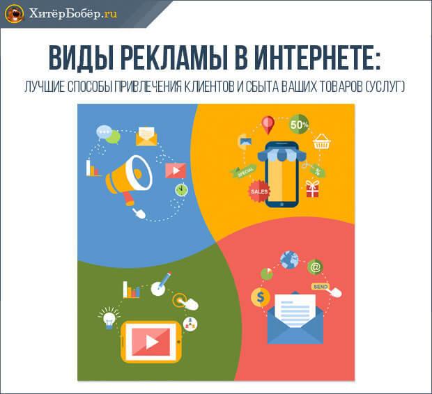 Виды рекламы в интернете: основные виды и стоимость интернет-рекламы, характеристика их эффективности, список преимуществ основных разновидностей рекламы в сети Интернет, примеры продвижения сайта и контекстной рекламы