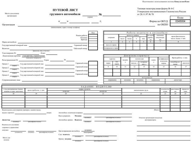 Новые путевые листы с 1 марта 2019 года: бланк и образец заполнения, правила