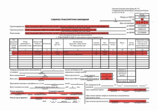Товарно-транспортная накладная: бланк 2019-2020 годов, скачать в формате excel, форма 1-Т