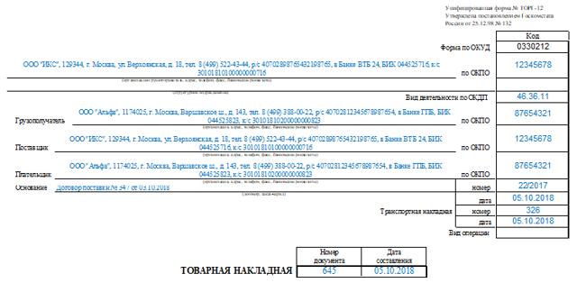 Возвратная накладная ТОРГ-12: скачать бесплатно образец заполнения и бланк в excel, форма возвратной накладной поставщику