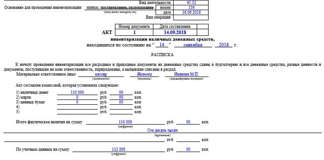 Акт инвентаризации денежных средств в кассе: бланк и образец заполнения, скачать ИНВ-15