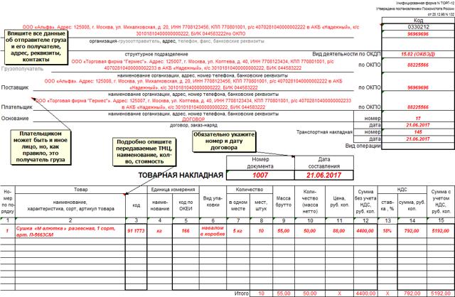 Правила заполнения товарной накладной в 2019 году: образец и инструкция, порядок оформления ТОРГ-12