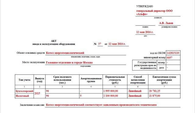 Акт ввода в эксплуатацию оборудования: образец и бланк