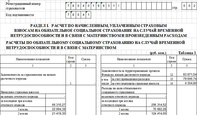 Отчет по форме 4-ФСС: образец заполнения, скачать новый бланк, инструкция с примером, как заполнять таблицы