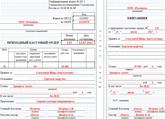 Приходный кассовый ордер: бланк, скачать бесплатно в форматах word и ecxel