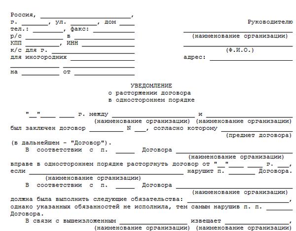 Регламентирование расторжения договора в одностороннем порядке в ГК РФ